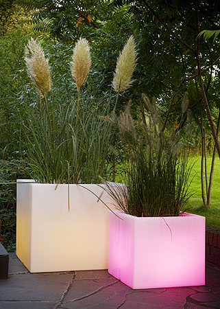 Planters light up with remote control and change color